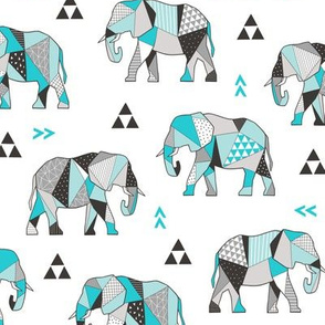 Elephants Geometric with Triangles Aqua Blue