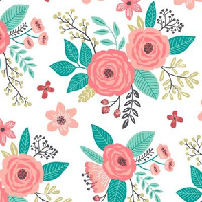 Vintage Antique Floral Flowers on White