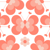 hex drop heart butterfly 3 : coral