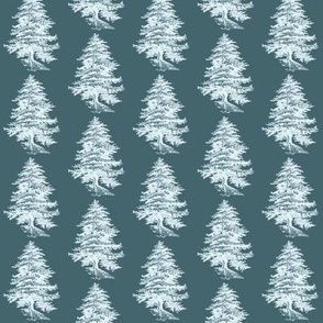 Teal and White Forest Tree