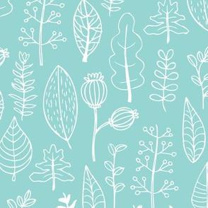 Mint garden leaf and flowers scandinavian style illustration summer spring print gender neutral