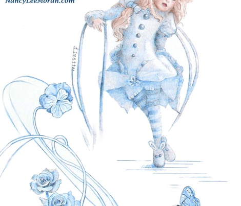 Itty-Bitty Blue Toile hand-drawn fairy tales