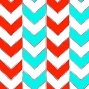Silver-Gilded Herringbone / Aqua and Red