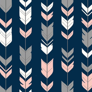 arrow Feathers- navy/coral/grey