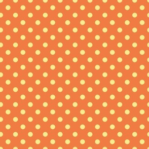 cream polka dots on orange