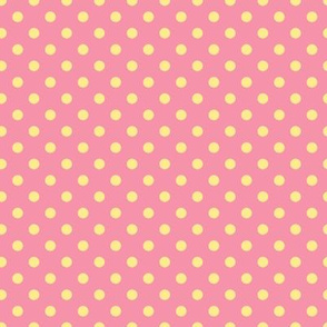 cream polka dots on pink