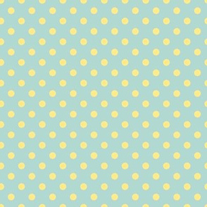 cream polka dots on blue