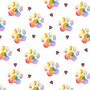 "1.5"" Rainbow Paw Prints with Hearts"