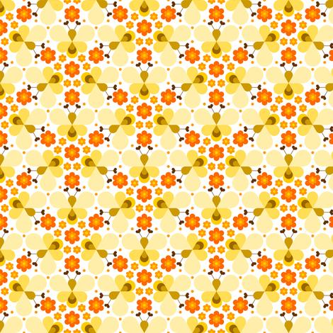 hex drop heart bee 3 flower orange cream