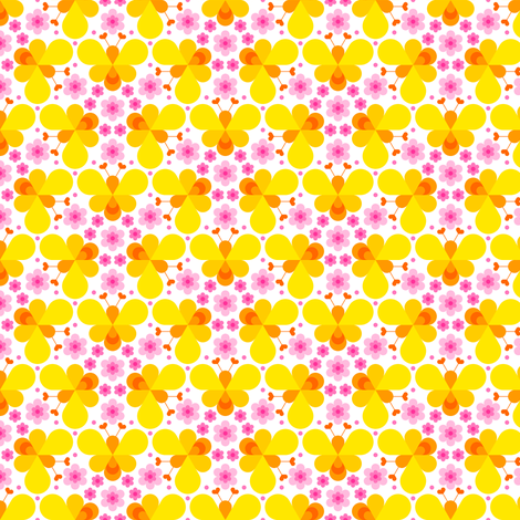 hex drop heart bee 3 flower yellow pink