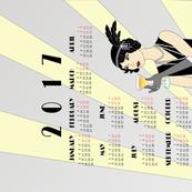 2017 Flapper Girl Tea Towel Calendar