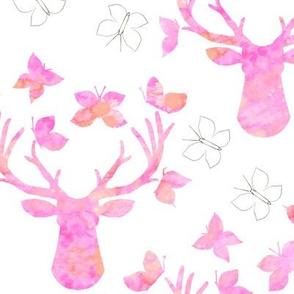 Watercolor Butterfly Buck Pink Pencil