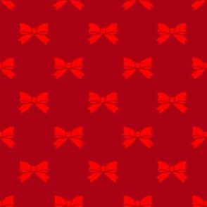 Christmas Red Bows on Dark Red
