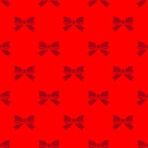 Christmas Dark Red Bows on Red