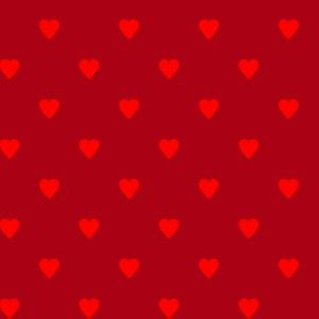 Christmas Red Hearts on Dark Red
