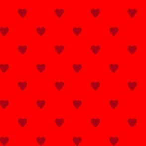 Christmas Dark Red Hearts on Red