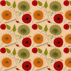 Mid-century Floral Peach