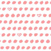 dots hearts coral