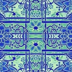 Blue Green Stencil Gardens
