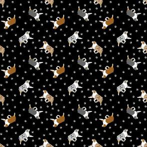 Tiny trotting Australian Shepherds and paw prints - black