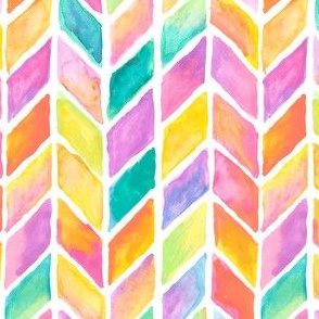 HandPainted Watercolor Candy Colored Chevrons WaterColor Painting Pattern