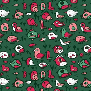 Scandinavian Birbs - Green & Red