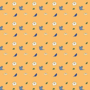 Bird and flower pattern for As For Me Tree