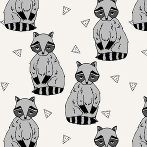 raccoon // raccoons racoon forest woodland champagne off-white cream kids nursery baby