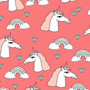 unicorn // unicorns rainbow blush peach mint gems jewels coral sweet girls unicorn