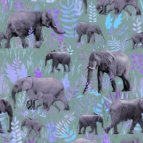 Sweet Elephants in Soft Purple and Grey