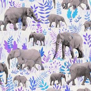 Sweet Elephants in Grey, Purple and Blue on Cream