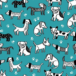 dog // dogs pet hand-drawn illustration funny cute kawaii dog design turquoise blue dog fabric for crafts quilts