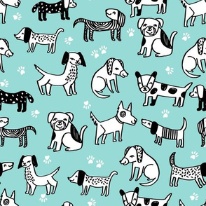 dogs // pet illustration dog hand-drawn sweet cute kawaii funny dog paw print dog fabric