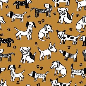 dogs // dog fabric puppy hand-drawn illustration kids paw print sweet mustard yellow dog fabric