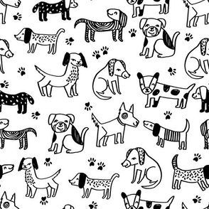 dogs // pet dog dog pillow sweet english bulldog hand-drawn cartoon kids dog fabric paw prints