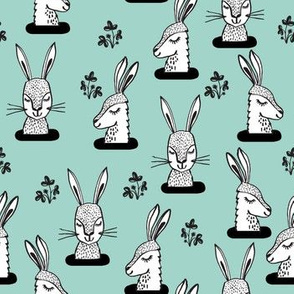 rabbit // sweet bunny rabbit rabbits mint girls spring animal print
