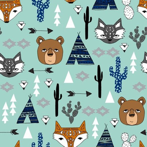 southwest baby // mint southwest animals kids nursery tipi teepee cactus raccoon arrows kids baby
