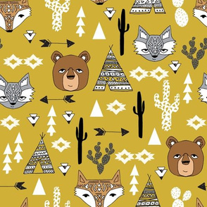 southwest animals // kids mustard baby nursery tipi teepee cactus tri triangles kids southwest