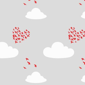 Love is in the Air in Scarlet Red and Dove Gray