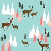 mountain deer // mint and pink triangles trees woodland geo deer cute forest woodland creatures