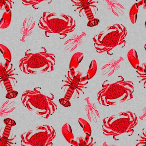 crab and lobsters // crabs ocean crustacean animal nautical preppy red summer food