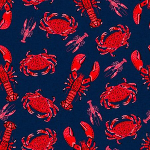 crab and lobster // crabs lobsters ocean nautical summer red navy blue preppy nautical print