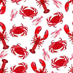 crab and lobster // white crabs lobsters nautical fish ocean sea red pink summer fishing