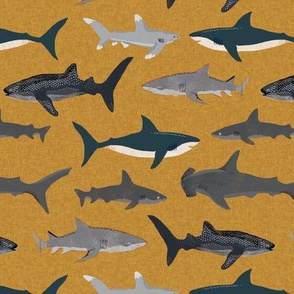 shark // sharks ocean nautical summer mustard yellow kids boys baby boy boys room