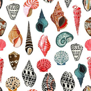 seashells // shells sea ocean nautical white summer cute girls pastel nautical fabric