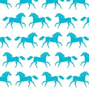 horses // turquoise white girls sweet pony horse fabric