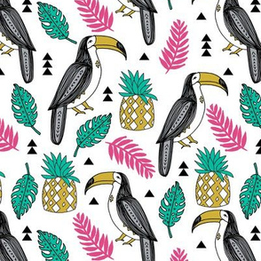 toucans // toucan tropical birds summer exotic pineapple monstera palm print leaves cute birds