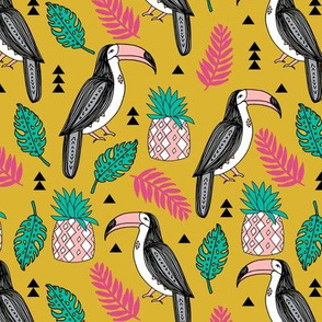 toucan // tropical toucans tropical pineapple mustard birds palm print monstera kids