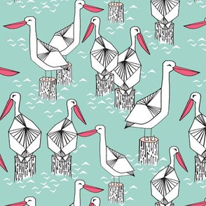 pelican // pelicans birds nautical mint ocean sea