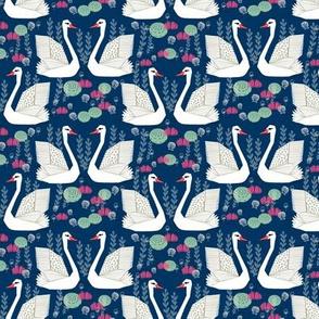 swan lake // navy blue swans girls flowers sweet little white swans